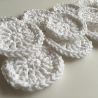 Crocheted Cotton Rounds (Set of 14) White - Face Scrubbies - EcoFriendly - Handmade - Face Cleansing - Reusable - Makeup Remover