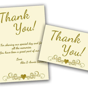 Ivory Wedding Anniversary Thank You Cards - Gold 50th Anniversary Party Thank You Notes - Golden Anniversary - 50th Wedding Vow Renewal
