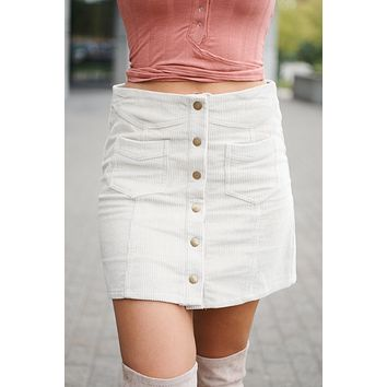 Everything Goes Button Up Skirt (Stone)