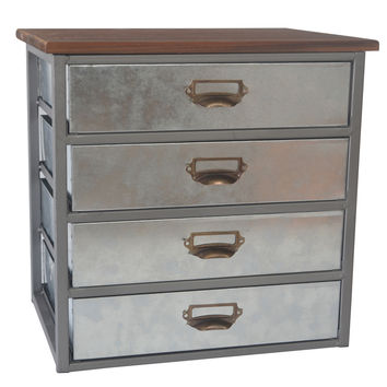 Galvanized 4 Drawer Organizer with Metal Label Scoop Handle and Wood Top 14-in