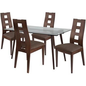 Hanford 5 Piece Espresso Wood Dining Table Set with Glass Top and Window Pane Back Wood Dining Chairs - Padded Seats