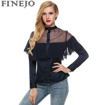 FINEJO Women Frill Long Sleeve Peplum Patchwork Tops Blouse Elegant Sweet Hollow Out Stand Neck Ruffles Shirt Top Blouses