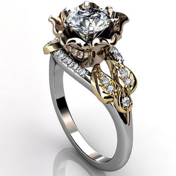 14k three tone white, rose and yellow gold diamond unusual floral engagement ring, bridal ring, wedding ring ER-1078-6