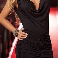 Black Ruched Backless Dress