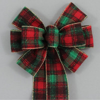 Country Flannel Plaid Christmas Bow