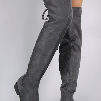 Over The Knee Self-Tie Back Round Toe Boots