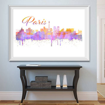 Paris City Skyline Watercolor -  Set of 5 Printables - Watercolor effect - Paris Skyline - Printable Paris Watercolor - Instant Download