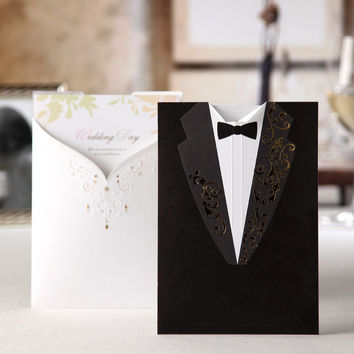 Laser Cut Black&White Formal Marriage Invites Cards 100PCS