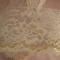 White and Gold Lace Trim, 4 In Wide, 5 YARDS, Flat Lace Trim, Raschel Lace