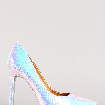 Shoe Republic Iridescent Snake Pointy Toe Pump