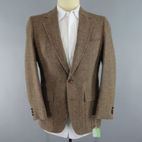 Vintage 1970s Blazer Jacket / 1960s Sport Coat / Wool Herringbone Tweed / Palm Beach Kuddes Mens Wear / 60s Mid Century Mad Men Suit Coat