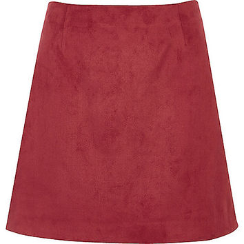 Dark red faux suede mini skirt