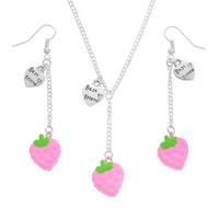 MJartoria Pink Strawberry Cake Pendant Adjustable Cuban Chain Necklace with Matching French Wire Earrings