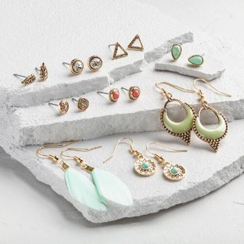Mint Feather and Gold Earrings Set of 9