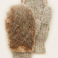 Aerie Women's Fuzzy Mittens (Natural)