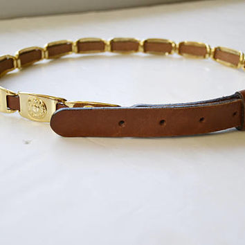 Brown leather belt with gold pieces, gold belt, metal belt, women's belt, size 75