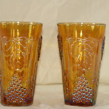 Indiana Glass Amber Carnival Tumblers