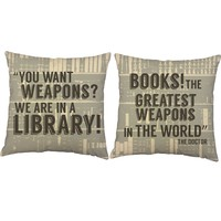 Books Are Weapons Quote Throw Pillows