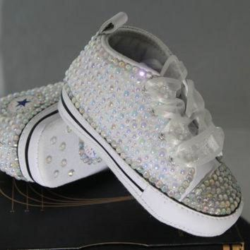 DCCKHD9 Baby- Infant- Baptism- Christening- Custom Converse- Crystal/ Pearl Studded Shoes- Bab