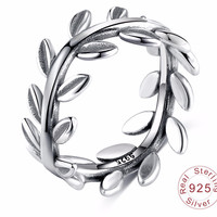 Leaves Shape Ring 100% 925 Sterling Silver Jewelry Promise Rings
