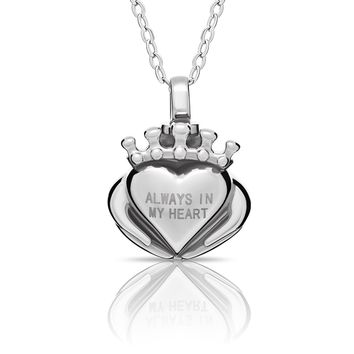 925 Sterling Silver Cremation Urn Tiny Heart Necklace, Modern Ash Keepsake Memorial Pendant