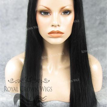 """24"""" Heat Safe Synthetic Straight Texture Lace Front """"Aphrodite"""" in Jet Black"""