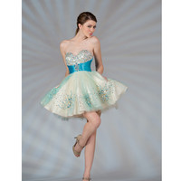2013 Prom Dresses- Nude & Turquoise Tulle Short Prom Dress - Unique Vintage - Prom dresses, retro dresses, retro swimsuits.