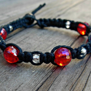 Macrame Orange / Red Shamballa Bracelet Black Hemp