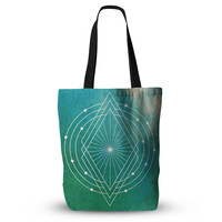 "Matt Eklund ""Atlantis"" Teal Geometric Everything Tote Bag"