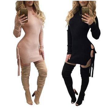 Autumn Women Dresses Cotton Long Sleeve Turtleneck Side Split Sexy Lace Up Bandage Bodycon Dress Mini Club Party Dress Feamle