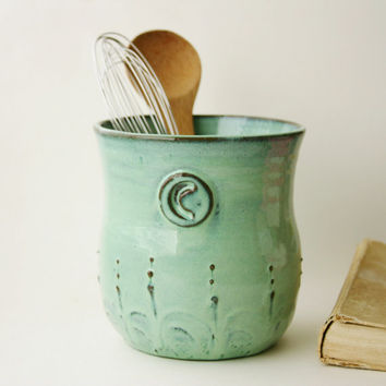 Monogram Kitchen Utensil Holder - Verdigris Sea Aqua Turquoise