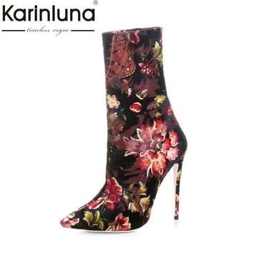 KarinLuna Big Size 33-43 Women's Flower Print Ankle Boots Sexy Thin High Heels Pointed Toe Less Platform Shoes Woman