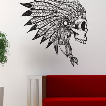Indian Chief Skull Version 2  Art Decal Sticker Wall Vinyl Decor Home Wall