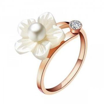 Seashell Flower and Pearl Ring with CZ