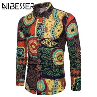 NIBESSER African Clothes Hip Hop Men Shirts 3D Printed Turn-down Collar Dress Clothing Long Sleeve Casual Dresses Male Shirts