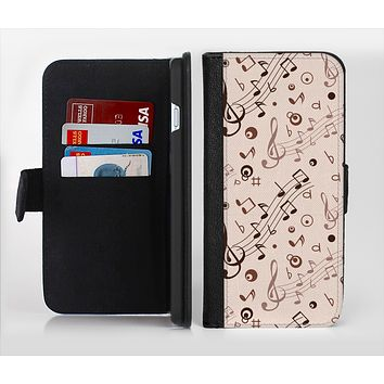 The Tan Music Note Pattern Ink-Fuzed Leather Folding Wallet Credit-Card Case for the Apple iPhone 6/6s, 6/6s Plus, 5/5s and 5c
