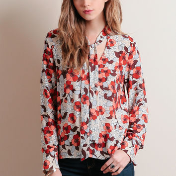 Wild Poppies Floral Blouse