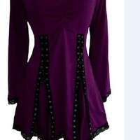 V-neck Irregular Pure Color Long Sleeves Plus Size Blouse