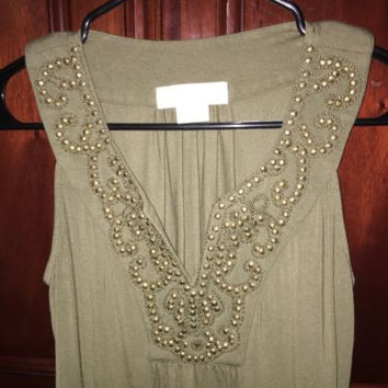 Michael Kors Top, Sleeveless Dark Green with Gold Stud Embellishments, Medium