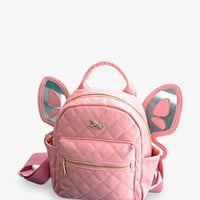 Pink Leather Butterfly Backpack