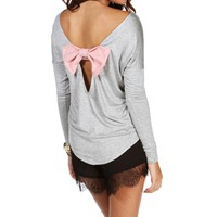 Heather GrayLight Pink Dolman Bow Top