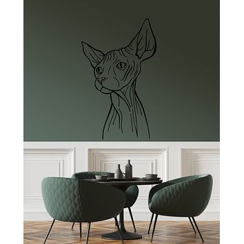 Vinyl Wall Decal Abstract Sphynx Cat Egyptian Pet Home Animal Stickers (3920ig)