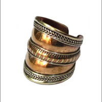 Copper Braided Amulet Ring