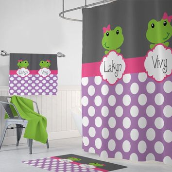 GIRL FROG SHOWER Curtain, Shared Girl Frog Bathroom Decor, Shared Girl Bathroom Decor, Sisters Bathroom Frog Towel Mat Rug, Kid Bathroom Set