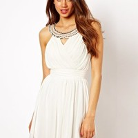 Elise Ryan Wrap Skater Dress with Crystal Collar