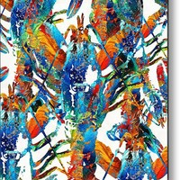 Colorful Lobster Collage Art - Sharon Cummings Metal Print