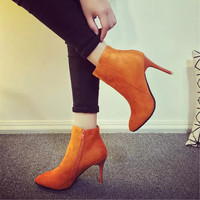 Boots - Suede Ankle boots with heel
