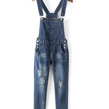 High Waist Pocket Designed Denim Ripped Overall