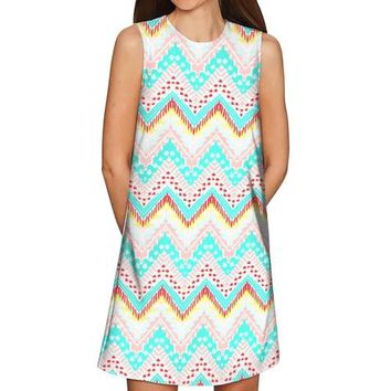 Chevron Please Adele Casual Shift Mini Dress -