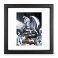 Society6 White Dragon Hatchlin Framed Print